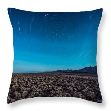 Star Trails In The Desert Throw Pillow