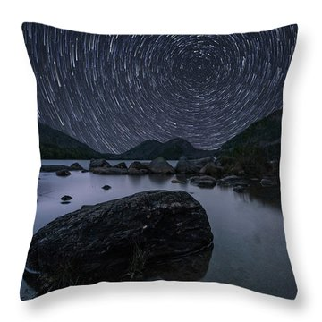 Star Trails Over Jordan Pond Throw Pillow