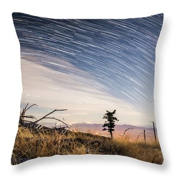 Star Trails Over Mt. Graham Throw Pillow