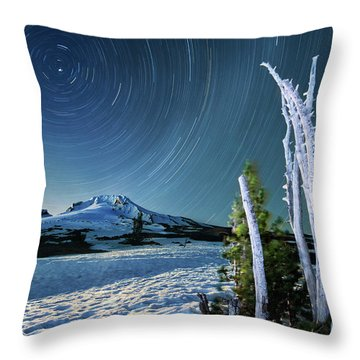 Star Trails Over Mt. Hood Throw Pillow