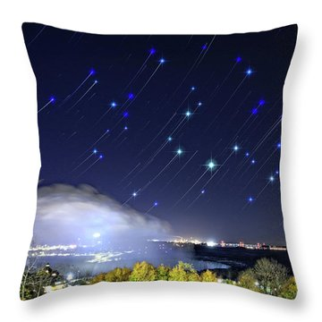 Star Trails Over Niagara River Throw Pillow by Charline Xia