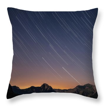 Star Trails Over The Apuan Alps Throw Pillow