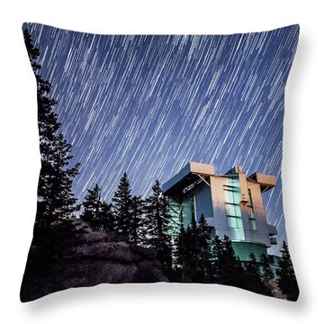 Star Trails Over The Large Binocular Telescope Throw Pillow