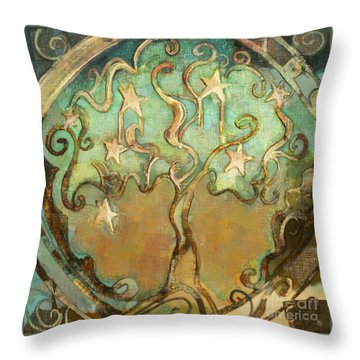 Throw Pillow featuring the tapestry - textile Star Tree by Carrie Joy Byrnes