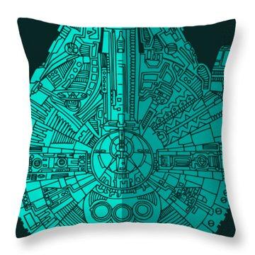Star Wars Art - Millennium Falcon - Blue 02 Throw Pillow