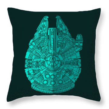 Star Wars Art - Millennium Falcon - Blue 02 Throw Pillow