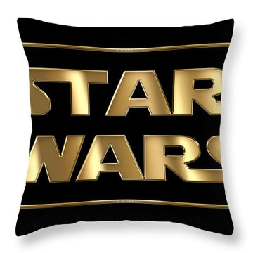 Star Wars Golden Typography On Black Throw Pillow