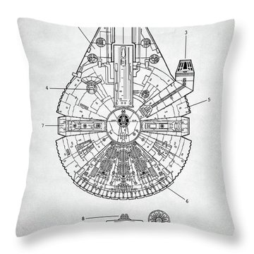 Throw Pillow featuring the digital art Star Wars Millennium Falcon Patent by Taylan Apukovska