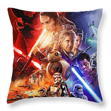 Throw Pillow featuring the painting Star Wars The Force Awakens Artwork by Sheraz A
