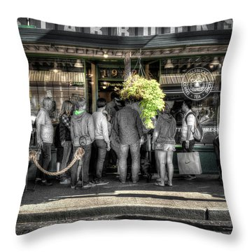 Throw Pillow featuring the photograph Starbucks At The Market by Spencer McDonald