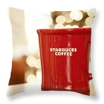 Starbucks Coffee Throw Pillow by Kim Fearheiley
