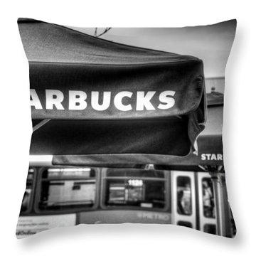 Starbucks Umbrella Throw Pillow by Spencer McDonald