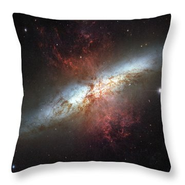 Starburst Galaxy, Messier 82 Throw Pillow by Stocktrek Images