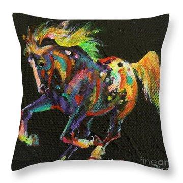 Starburst Pony Throw Pillow by Louise Green