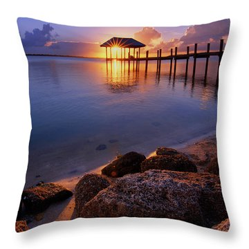 Starburst Sunset Over House Of Refuge Pier In Hutchinson Island At Jensen Beach, Fla Throw Pillow by Justin Kelefas
