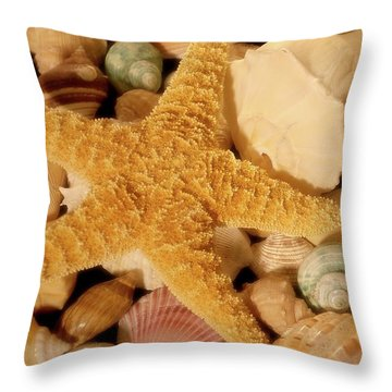 Throw Pillow featuring the photograph Starfish And Seashells by Angie Tirado
