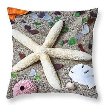 Starfish Beach Still Life Throw Pillow by Garry Gay
