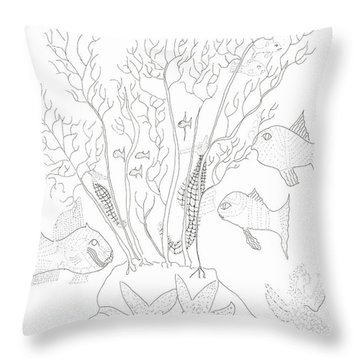 Starfish Dance And Fish Camouflage Throw Pillow