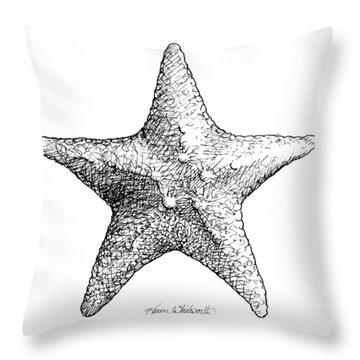 Coastal Starfish Drawing - Black And White Sea Star - Beach Decor - Nautical Art Throw Pillow