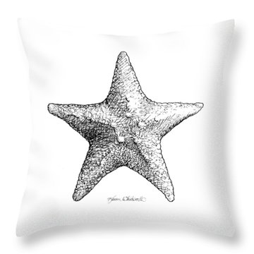 Throw Pillow featuring the drawing Starfish Drawing Black And White Sea Star by Karen Whitworth