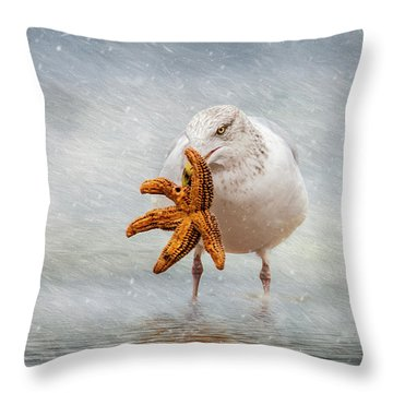 Starfish For Dinner Throw Pillow