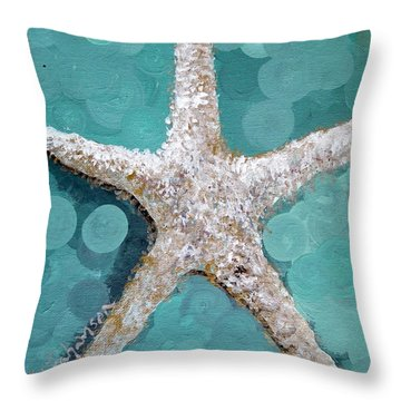 Throw Pillow featuring the painting Starfish Goldie by Kristen Abrahamson
