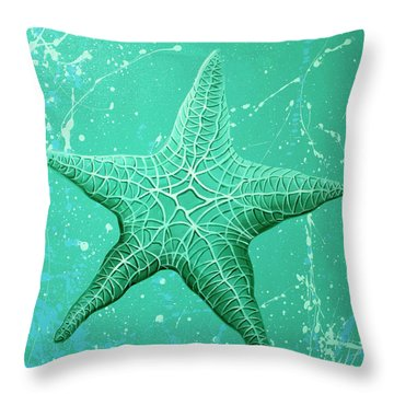 Starfish In Teal Throw Pillow