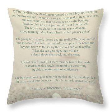 Starfish Make A Difference Vintage Set 1 Throw Pillow