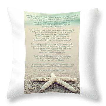 Starfish Make A Difference Vintage Set 1 Throw Pillow by Terry DeLuco