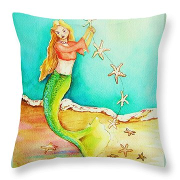 Starfish Mermaid Throw Pillow by Patricia Piffath