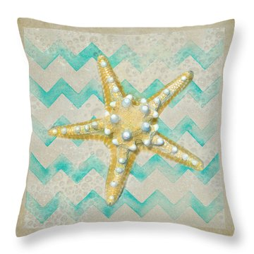 Starfish In Modern Waves Throw Pillow