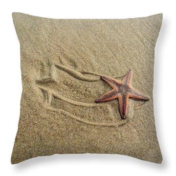 Starfish On The Beach Throw Pillow by Debra Martz
