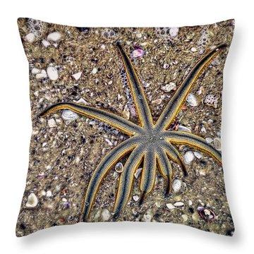 Starfish On The Beach Throw Pillow