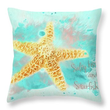 Throw Pillow featuring the photograph Starfish Wishes by Darren Fisher