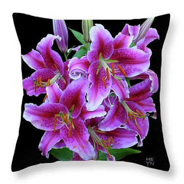 Stargazer Lily Cutout Throw Pillow by Shirley Heyn