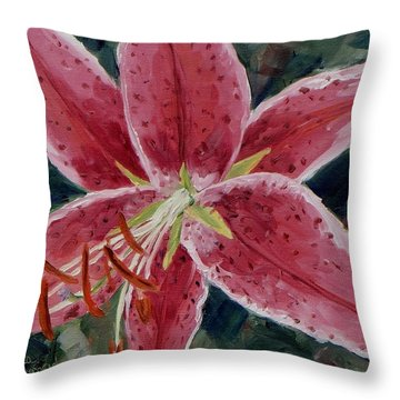 Stargazer Lily Throw Pillow by Monica Ironside