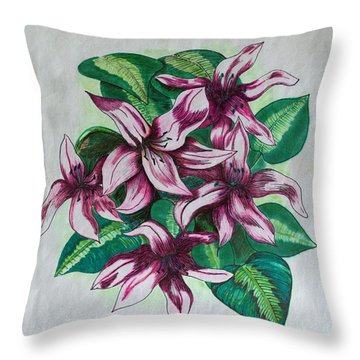Stargazers Blooming Throw Pillow by J R Seymour
