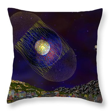 Throw Pillow featuring the digital art Stargeist Contact by Iowan Stone-Flowers