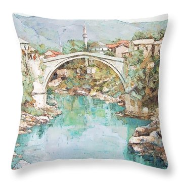 Stari Most Bridge Over The Neretva River In Mostar Bosnia Herzegovina Throw Pillow