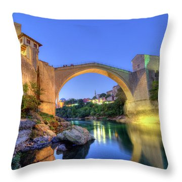 Stari Most, Old Bridge, Mostar, Bosnia And Herzegovina Throw Pillow