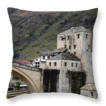 Stari Most Ottoman Bridge And Embankment Fortification Mostar Bosnia Herzegovina Throw Pillow