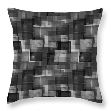 Stark Black Squares Abstract Pattern Throw Pillow