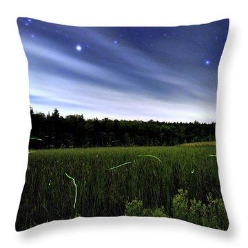 Starlight And Fireflies Throw Pillow