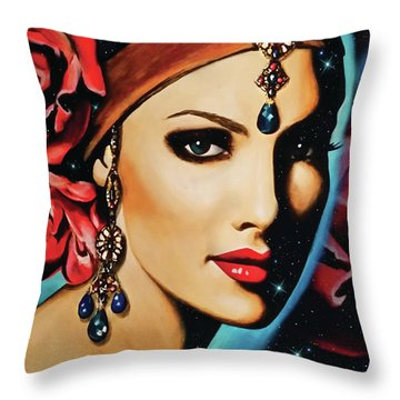 Starlight Rose Throw Pillow