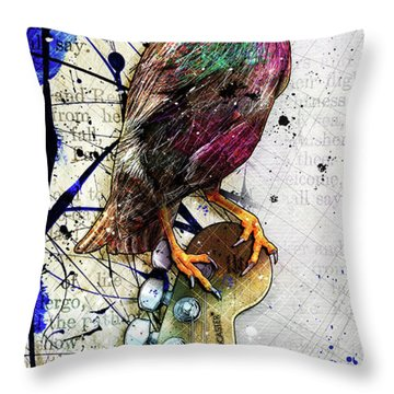 Starling On A Strat Throw Pillow by Gary Bodnar