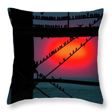 Starlings Against The Setting Sun Throw Pillow
