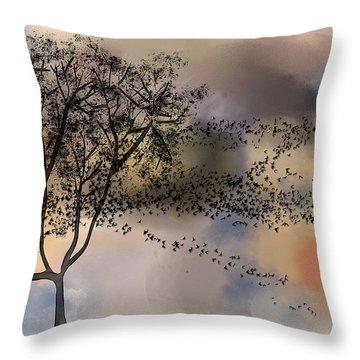 Starlings At Dusk Throw Pillow