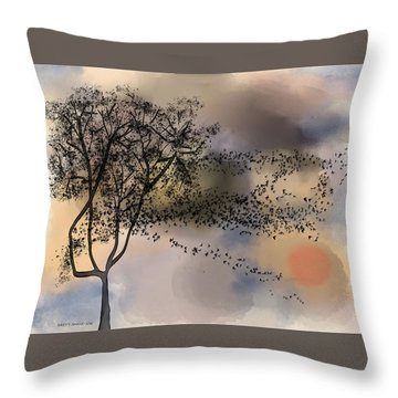 Starlings At Dusk Throw Pillow
