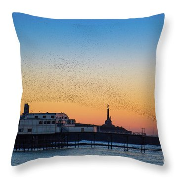 Starlings At Sunset In Aberystwyth Throw Pillow