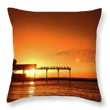 Starlings At Sunset Over Aberystwyth Pier Throw Pillow